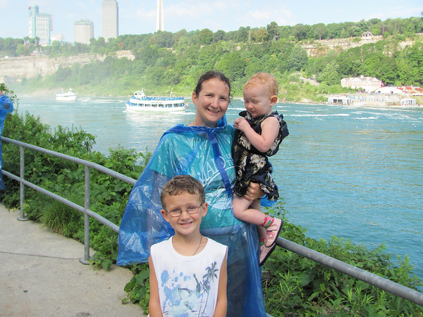 Heather and Kids in front of Maid of Mist boats just after Niagara.